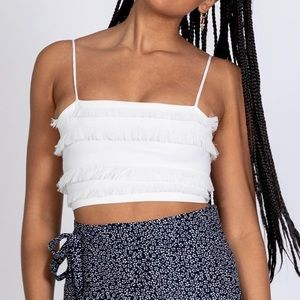 Princess Polly The Broods Crop Top White 0